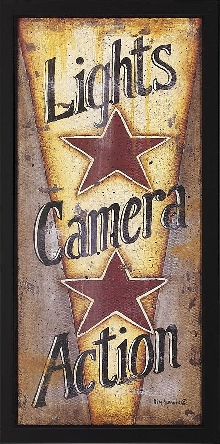 "Floor Model Final Sale ""Lights, Camera, Action!"" Framed Theater Wall Art with Red Stars"