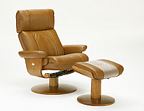 Mac Motion Nora Euro Recliner and Ottoman in Saddle Leather with Lumbar Support