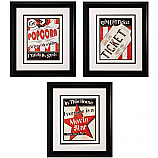 NEW! Popcorn,Ticket and Star Theater Framed Trio Wall Art Set