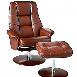 Recliner and Ottoman - Cognac Bonded Leather