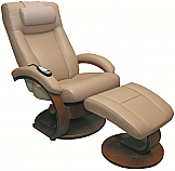 New! Mac Motion Oslo Euro Recliner and Ottoman with Massage in Cobblestone Leather  (Model 5400)