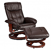 Recliner and Ottoman - Café Brown Bonded Leather, U-Base