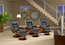 Mac Motion Triple Euro Recliner and Ottoman Set in Black Leather  (Model 54B)