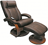 New! Mac Motion Oslo Euro Recliner and Ottoman with Massage in Hickory Brown  (Model 5400)