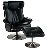 Recliner and Ottoman - Shimmer Black Bonded Leather