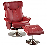 Recliner and Ottoman - Brick Red Bonded Leather