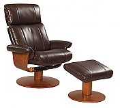 Mac Motion Nora Euro Recliner and Ottoman in Espresso Leather with Lumbar Support