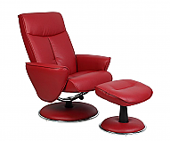 Mac Motion Euro Recliner and Ottoman in Red Bonded Leather (Model 830)