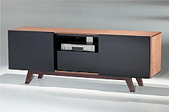 "70"" Modern TV Stand Media Console for Flat Screen and Audio Video Installations with Italian Engineered Veneer Case & Black High Gloss Lacquer"