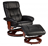 Recliner and Ottoman - Black Bonded Leather, U-Base