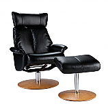Special Sale Recliner and Ottoman - Shimmer Black Bonded Leather