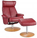 Special Sale Recliner and Ottoman - Brick Red Bonded Leather