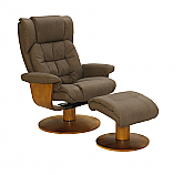 Mac Motion Vinci Euro Recliner and Ottoman in Chocolate Nubuck Bonded Leather