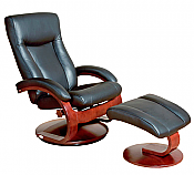 Mac Motion Euro Recliner and Ottoman in Black Leather  (Model 54B)