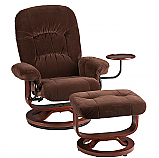 Recliner and Ottoman - Chocolate Polyester Fabric