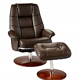 Recliner and Ottoman - Café Brown Bonded Leather