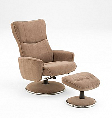 Mac Motion Euro Recliner and Ottoman in Mushroom (Model 838)