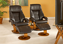 Mac Motion Double Euro Recliner and Ottoman Set in Espresso Leather (Model 58)