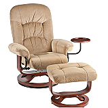 Recliner and Ottoman - Sand Polyester Fabric