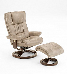 Mac Motion Casa Euro Recliner and Ottoman in Cloud Bonded Leather with Alpine Base (Model 814)