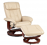 Recliner and Ottoman - Taupe Bonded Leather, U-Base