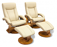 Mac Motion Euro Double Recliner and Ottoman Set in Cobblestone Leather  (Model 54)