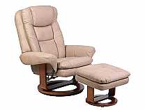 Mac Motion Euro Recliner and Ottoman in Stone Nubuck Bonded Leather (Model 802)