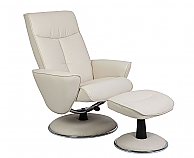 Mac Motion Euro Recliner and Ottoman in Snow Bonded Leather (Model 830)