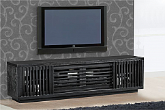 "82"" Contemporary Rustic TV Stand Media Console for Flat Screen and Audio Video Installations in American White Oak with a Matte Ebony Finish"