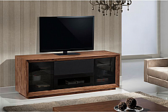 "70"" Contemporary TV Stand, Media Console for Flat Screen and Audio Video Installations Featuring Contoured Edge Detail with Natural Walnut Veneers"