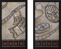 Film Reel and Ticket Framed Theater Wall Art Pair