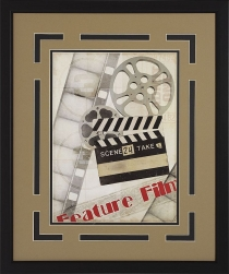"""Feature Film""  Double Matted Framed Theater Wall Art"