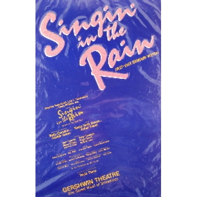 SINGIN' IN THE RAIN (ORIGINAL BROADWAY THEATRE WINDOW CARD)