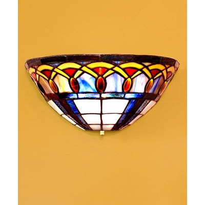 Tiffany Battery Wall Sconces : Stained Glass Tiffany Inspired Battery Powered Sconce - Stargate Cinema