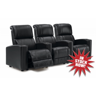 Curved Row of 3 or 4 Palliser Cyclone Home Theater Seats, Quick Ship Black and Brown, Manual Recline