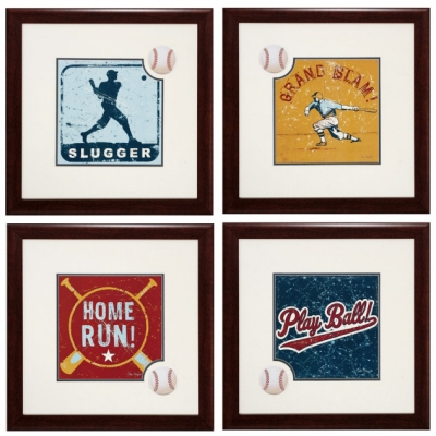 Baseball Wall Art Four Piece Baseball Theme Wall Art Set   Stargate Cinema