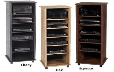 Furniture Wood on Wood Audio Cabinet With 5 Shelves    Av Racks   Stands    Home